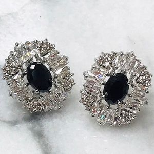 Jet Black Crystals Cubic Zirconia Button Earrings